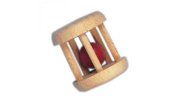 Hochet: cage en forme de baril en bois avec boule au centre