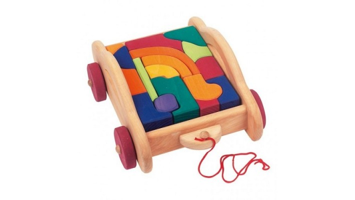 Charriot contenant des blocs des couleurs à tirer