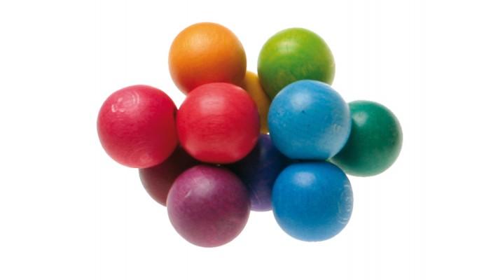 Hochet: Boules arc-en-ciel sur élastique. 3 options de coloris