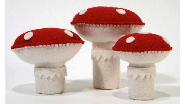 Felt mushrooms (Kit of 3)