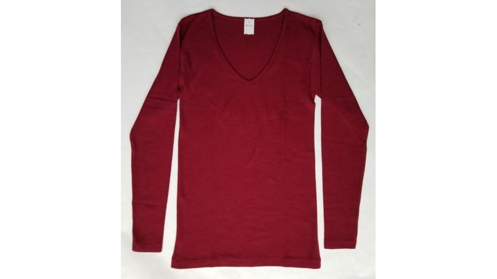 Sous-vêtements laine et soie pour femme, manches longues, encolure en V