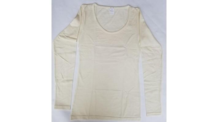 Sous-vêtements laine et soie, femme, manches longues, décolleté rond