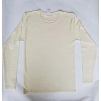 Sous-vêtements laine et soie pour hommes et femme, manches longues, col rond